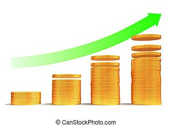 재정적인 성장, 위로의, 또는, 돈, 저금, 3차원, 개념