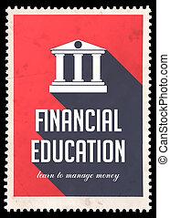 재정, 교육, 통하고 있는, 빨강, 에서, 바람 빠진 타이어, design.