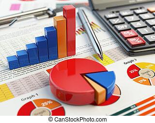 재정, 사업, 그래프, concept., 세금, 도표, 고립된, 클립 보드, white., 보고, 회계