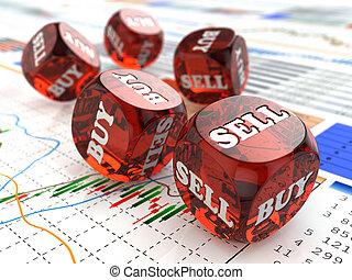 재정, 주사위, concept., graph., 시장, 주식