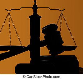 재판관, 법정, 작은 망치, 실루엣, 통하고 있는, 푸른 배경