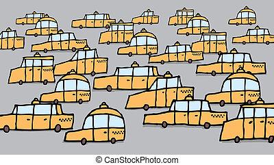 잼, 그룹, 크게, /, 벡터, 교통, 택시, 만화