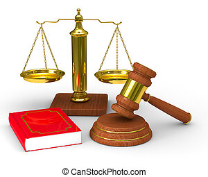 저울, 정의, 심상, 고립된, 배경., 백색, 망치, 3차원