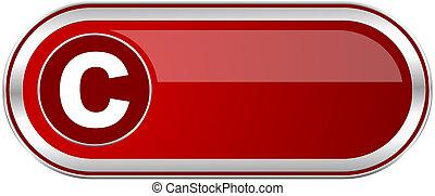 저작권, 빨강, 길게, 광택 인화, 은, 금속, banner., 현대, 디자인, 웹, 단추, 치고는, smartphone, 적용