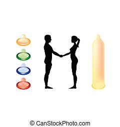 적나라한, 남자와 여자, 손을 잡는 것, -, 실루엣, 삽화