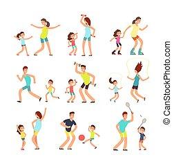 적당, 가족, 부모님, 와..., 키드 구두, 훈련, 함께., 능동의, 가족, 함, 운동회, 운동, 벡터, 바람 빠진 타이어, 사람, 고립된
