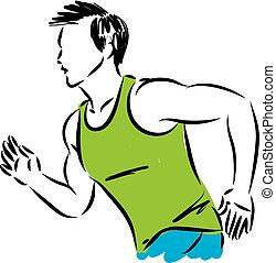 적당, 사람 달리기, 벡터, 삽화