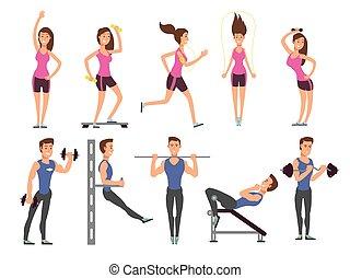 적당, 사람, 벡터, 만화, 특성, set., 여성과 사람, 운동선수, 만들다, 식, 와, 스포츠 장비
