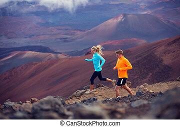 적당, 스포츠, 한 쌍, 달리기, 조깅, 외부, 통하고 있는, 길게 나부끼다