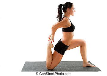적당, 여자, 만들다, 뻗기, 통하고 있는, 요가, 와..., pilates, 자세, 통하고 있는, 고립된, 백색 배경, 그만큼, 개념, 의, 스포츠, 와..., 건강