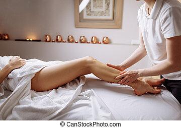 적용하는 것, 다리, 압력, 인간 손, muscle.therapist, 완화, 송아지