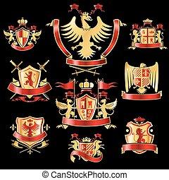 전령의, 상표, 금, 빨강