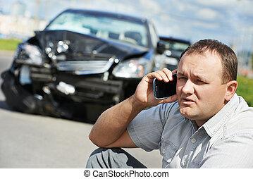전복, 운전사, 남자, 후에, 자동차 충돌