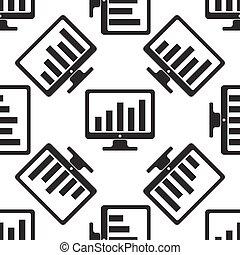 전시, 와, 사업, 그래프, 아이콘, 패턴, 백색 위에서, 배경., 벡터, 삽화