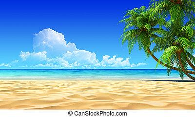 전원시의, 종려, 열대적인, 모래 바닷가, 빈 광주리