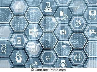 전자의, e-healthcare, 파랑, 와..., 회색, 배경, 와, 육각형의, 형체