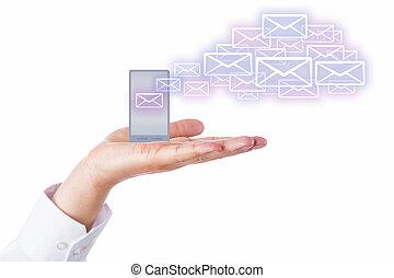 전자 우편, 떠남, 셀룰라 전화, 에서, a, 손바닥, 치고는, 그만큼, 구름