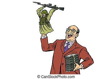 전쟁, propaganda., 군인, attacks., 정치가, 와, 돈