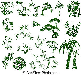 전통적인, 대나무, 고전, 중국어, 잉크