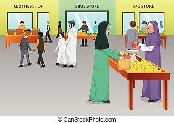 전통적인, 이슬람교도의, 쇼핑, 시장, 사람
