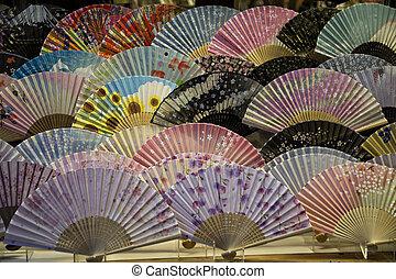 전통적인, 일본, 은 부채로 부친다