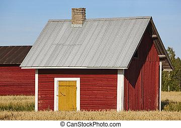전통적인, 핀란드 말, 빨강, 멍청한, 농장, 에서, 그만큼, countryside.