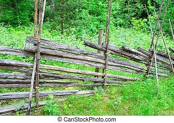 전통적인, 핀란드 말, 시골, 나무의 울타리