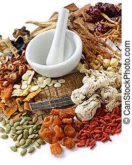전통적인, chinese 초목의 약