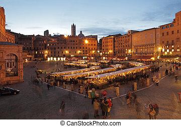 전통적인, mercato, grande, 역사적이다, 솜씨, 와..., 음식 시장, 통하고 있는, 충분한,...