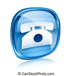 전화 아이콘, 푸른 글래스, 고립된, 백색 위에서, 배경.