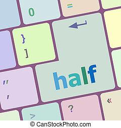 절반, 낱말, 통하고 있는, 컴퓨터, pc, 키보드, 열쇠