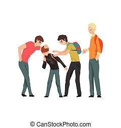 젊은이의그룹, 비웃는 것, a, 소년, 충돌, 사이의, 아이들, 조롱, 와..., 괴롭히는 것, 에, 학교,...