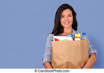 젊은 숙녀, 가방을 나르는 것, 의, grocery