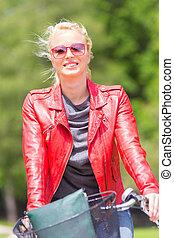 젊은 숙녀, 구, a, bicycle.