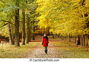 젊은 숙녀, 에서, 가을, 공원