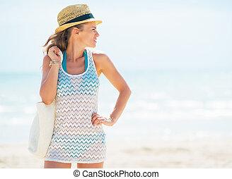 젊은 숙녀, 에서, 모자, 와, 가방, 지켜보는 것, 사본 공간