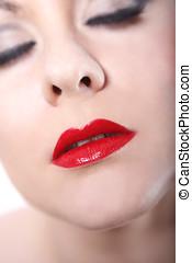 젊은 숙녀, 와, 빨강 입술
