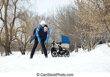 젊음 가족, 에서, 겨울, 공원