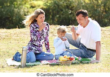 젊음 가족, 피크닉을 행하는 것, 에서, 자연