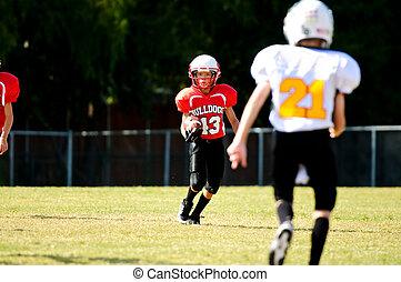 젊음, 선수, 달리기, 축구, 밀려서