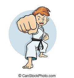 젊음 소년, 연습, 격투기, vec