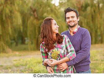 젊음 한 쌍, 사랑안에, 걷기, 에서, 그만큼, 가을, 공원