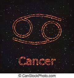 점성술, 빛나는, 상징., 황도대, cancer.