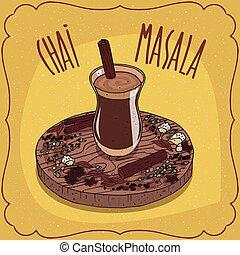접시, 멍청한, 차, chai, 인도 사람, masala