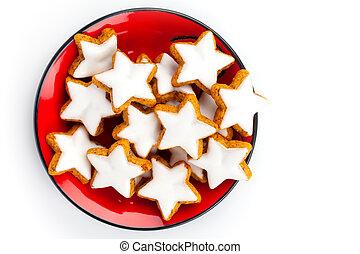 접시, 쿠키, 별, 육계피, 크리스마스, 빨강