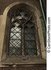 정면, 대성당, 창문, 중세의, lviv