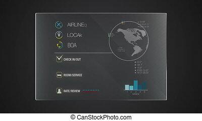 정보, 문자로 쓰는, 기술, 패널, 'hotel', record', 사용자 인터페이스, 디지털 표시 장치,...