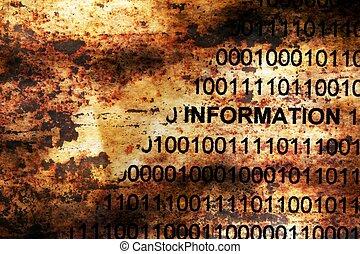 정보, 자료, 통하고 있는, grunge, 배경