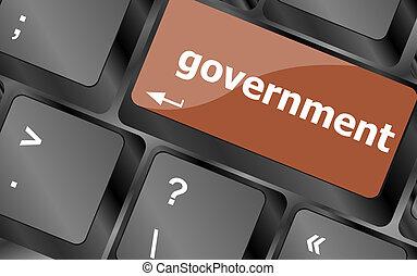 정부, 낱말, 통하고 있는, 키보드, 열쇠, 노트-북 컴퓨터, 단추