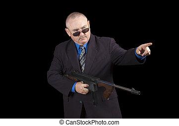 정부, 위의, 대리인, 갱, 검은 배경, fbi, 또는